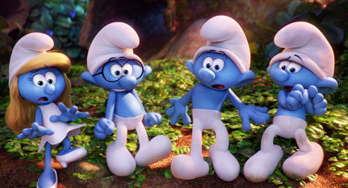 Smurfette, Brainy, Hefty and Clumsy