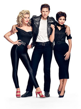 Julianne Hough as Sandy, Aaron Tveit as Danny, Vanessa Hudgens as Rizzo