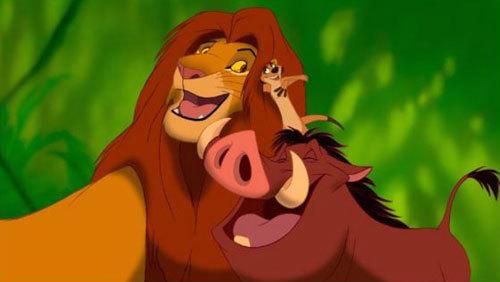 Simba with Timon and Pumbaa