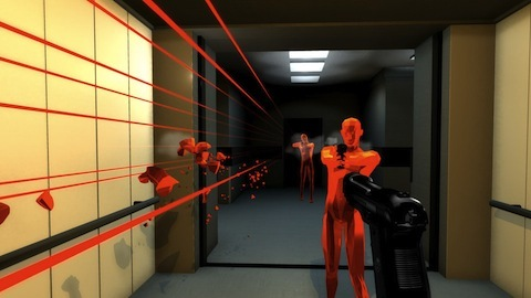 Superhot features a striking minimalist art style.