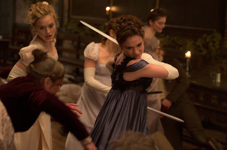 Bella (left) and Lily fight zombies
