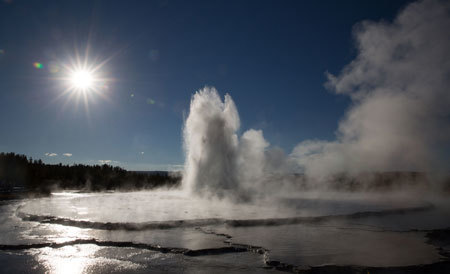 Geyser erupts in Yellowstone Park