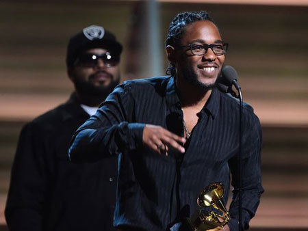 Kendrick Lamar receives the award for the Best Rap Album, To Pimp A Butterfly