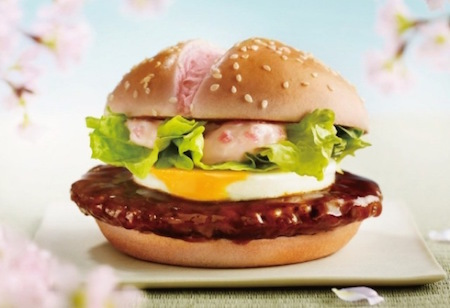That's right, the cherry blossom burger features a pink bun and pink mayo!