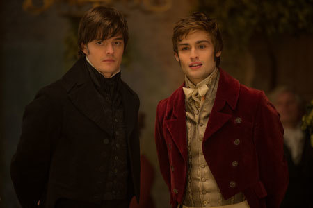 Douglas (right) with Sam Riley as Darcy