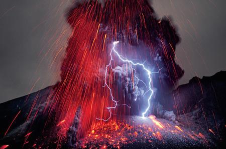 A volcanic eruption AND a lightning bolt? That seems a bit much!