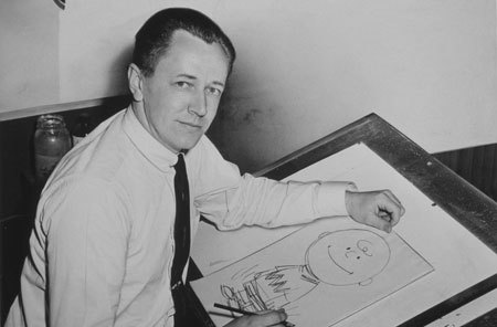 Charles Schulz drawing Charlie Brown
