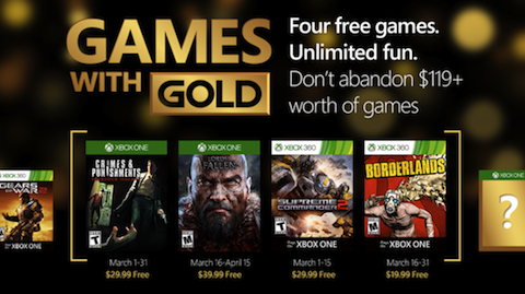 March's Free Games With Gold!