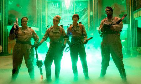 Ghostbusters Abby, Holtzmann, Erin and Patty inside the Mercado Hotel Lobby