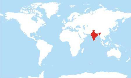 World Map - India Highlighted