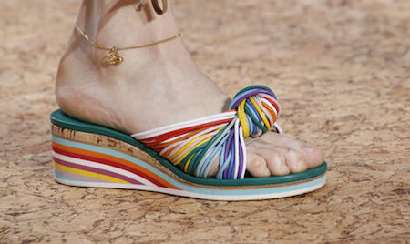 Rainbow sandals can really brighten up your outfit.