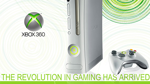 A classic Xbox 360 ad with the launch model of the console.