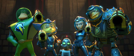 Captain Qwark, Ratchet, Clank, Cora, and Brax