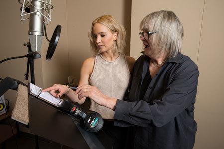 Jennifer Lawrence works on narration