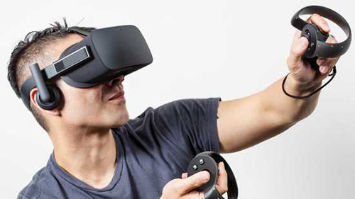 A VR headset and hand-simulating controllers.