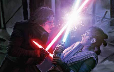 Production Art of Rey and Kylo Ren's lightsaber fight