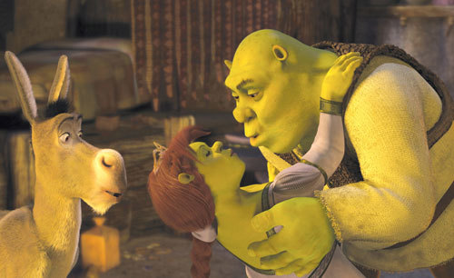 Donkey, Fiona and Shrek