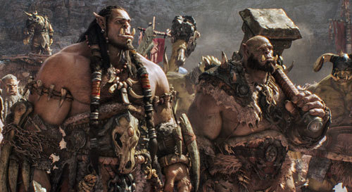 Orgrim with clan head Durotan (Toby Kebbell)