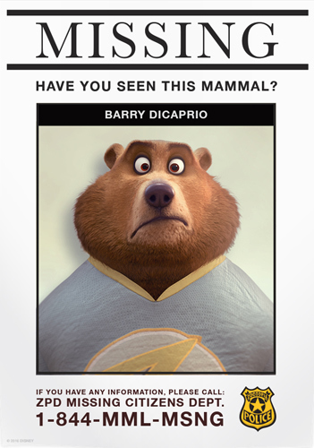 Zootopia Missing Citizen Poster | Barry DiCaprio