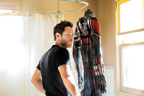 Paul Rudd as Ant-Man checks his suit