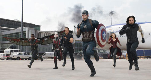 Scarlet Witch and Ant-Man with team Cap
