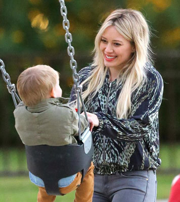 Hilary with son Luca