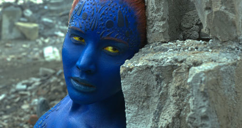 Mystique pauses during an epic, earth-shattering battle with Apocalypse