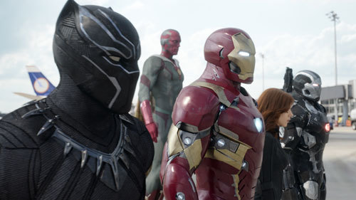 Black Panther and Iron Man side by side