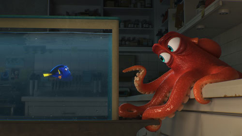 Hank points the way to a trapped Dory