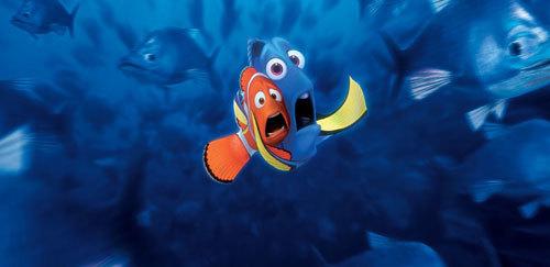 Marlin and Dory face an open ocean menace