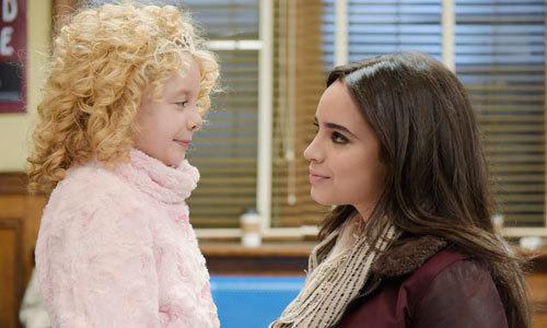 Sofia as Lola chats with Mallory Mahoney as Katy