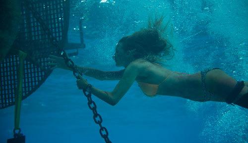In an underwater shot