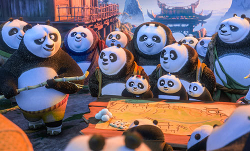 Po tries to teach his new family some Kung Fu moves