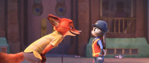 Nick the fox confronts Officer Hopps the bunny