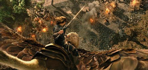 Lothar battles the orcs on a gryphon