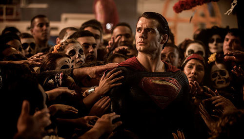 The crowd worships Superman