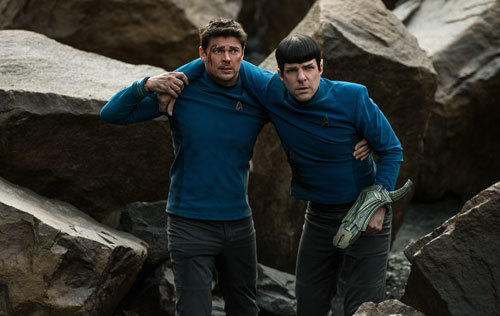 Karl as McCoy with injured Zach as Spock