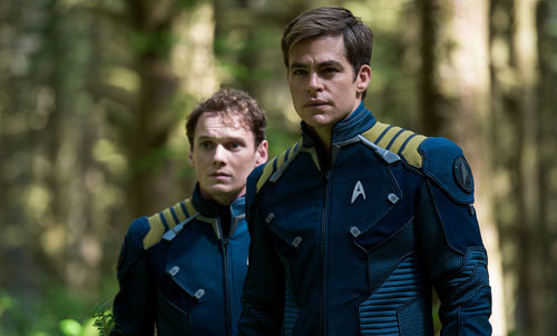 Anton Yelchin (Chekov) with Chris Pine (Kirk)