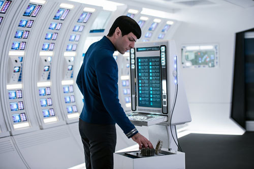 Zach as Spock analyzing data