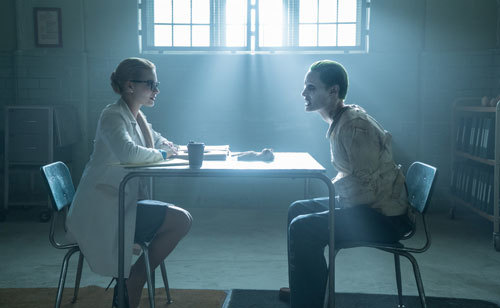 Dr. Quinn (Margot) gets to know the Joker (Jared Leto)