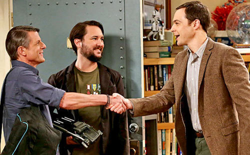 Adam (left) on TV's The Big Bang Theory