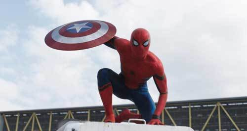 Young Spider-Man with Cap's shield