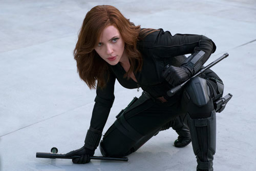 Black Widow in battle