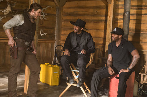 Chris on set with Denzel Washington and director Antoine Fuqua