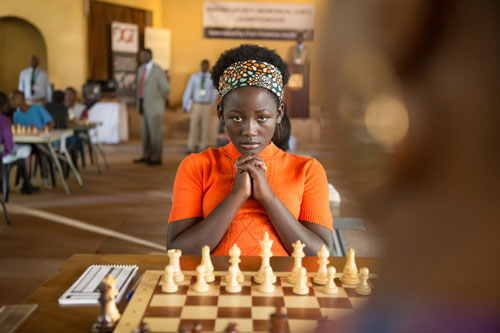 Fiona (Madina) concentrates at a big chess match