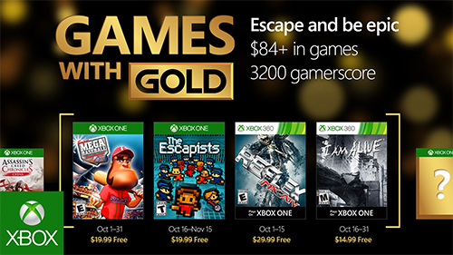 Xbox's Games With Gold for October 2016.