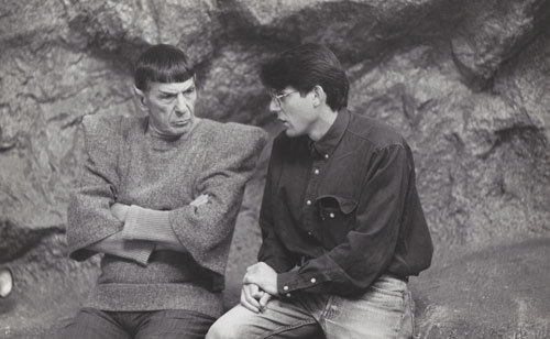 Leonard and Adam Nimoy on set in later years