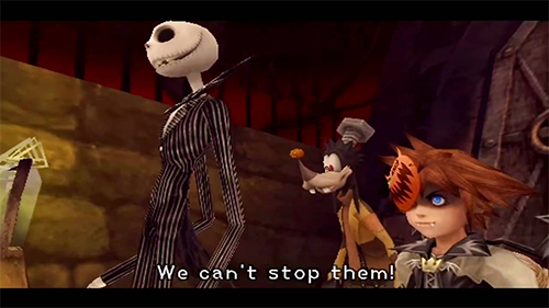 Sora's first trip to Halloween Town in the original game.