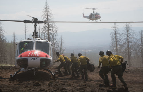 Granite Mountain Hotshots have to be helicoptered into a fire