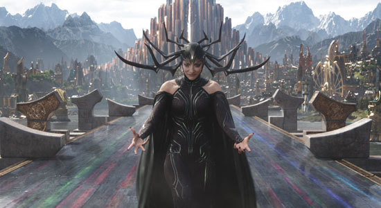 Hela (Cate Blanchett) conjures up weapons